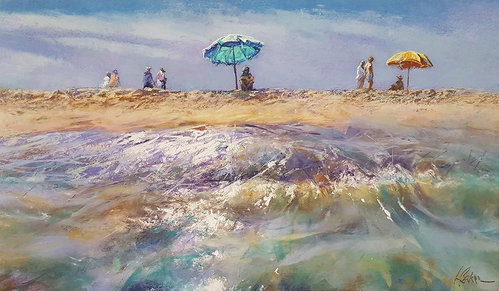 Greg Baker - The Blue Brolly (pastel on board 38 x 65cm) SOLD