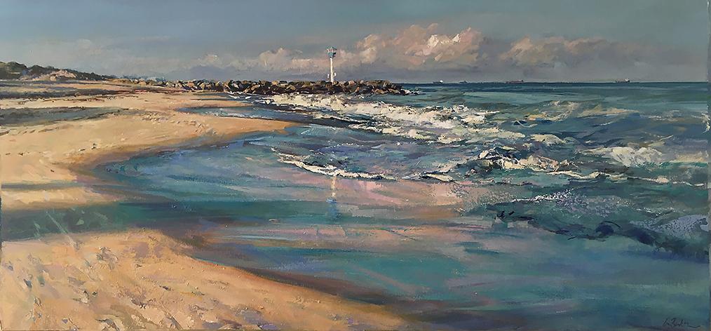 Greg Baker - 6am City Beach (oil on canvas 76 x 165cm) SOLD
