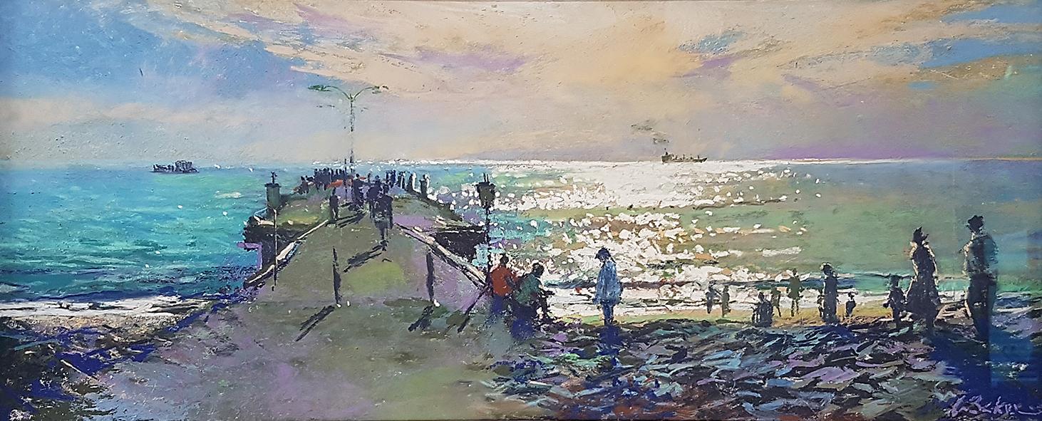 Greg Baker - Life at Woodman Point - en plein air (pastel on card 25 x 60cm) SOLD