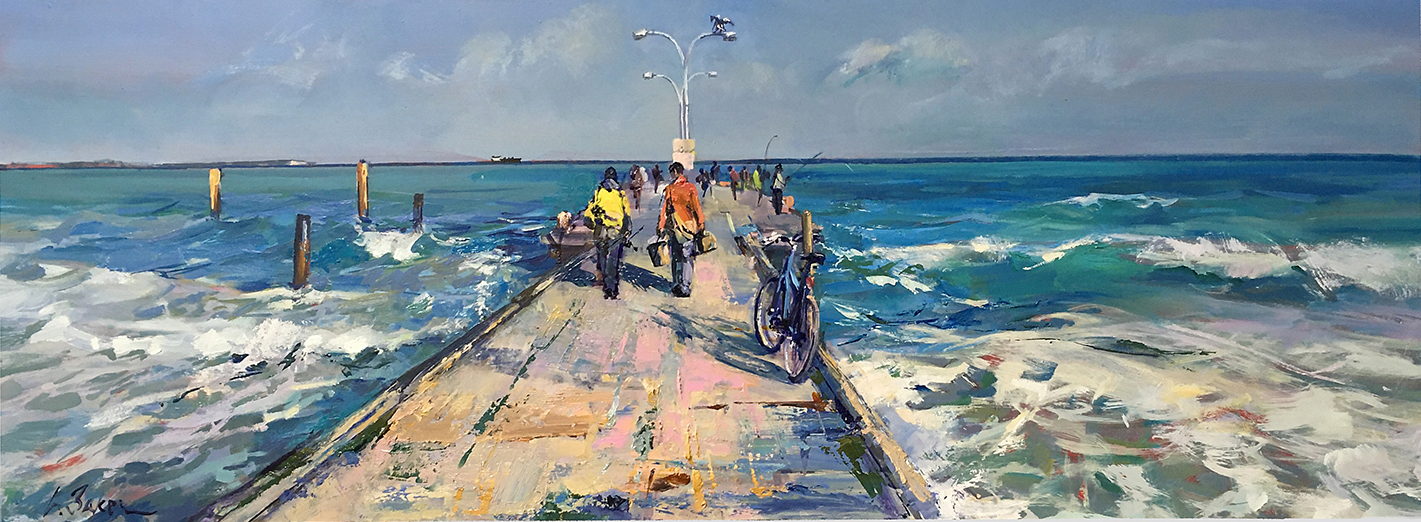 Greg Baker - When the Herring are Running (oil on board 37.5 x 102cm) SOLD